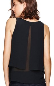 Aritzia Silk Georgette Sheer V-neck Sheer Top Black