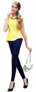 Peplum Career Lace Tunic Top Yellow