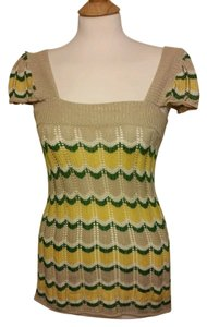 Anthropologie Short Sleeve Chevron Stretch Top Yellow