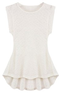 Peplum Career Lace Tunic Top White