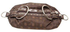 Kathy Van Zeeland Silver Hardware Silver Studs Brown Travel Bag