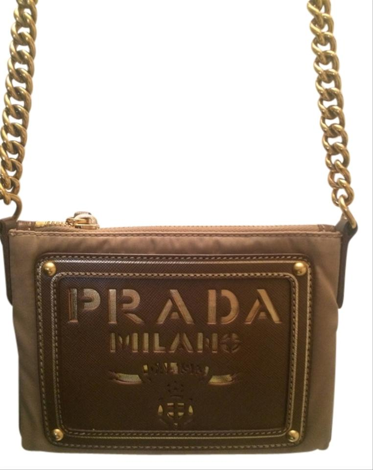 prada handbag collection - Prada Leather Cut Out Logo With Tessuto Gold Long Chain Beige ...