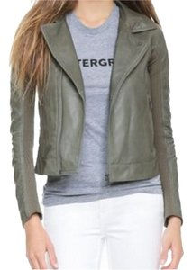 June Green Blue Leather Leather Jacket