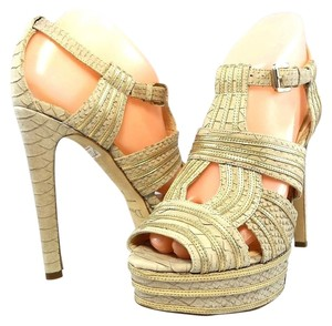 Dior Pump Cut-out Peep Toe Snakeskin Taupe Platforms