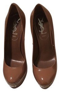 Saint Laurent Soft Nude / Brown paper bag Pumps