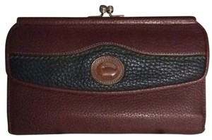 Dooney & Bourke Burgundy Navy With Hunter Green Trim Clutch