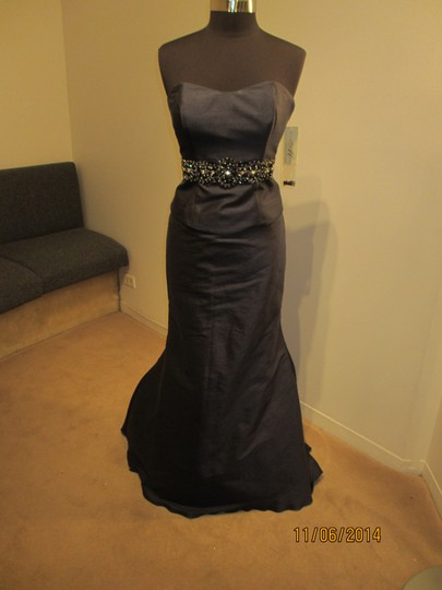 Rina diMontella Navy Silk 1355 (Daym-1) Formal Bridesmaid/Mob Dress Size 12 (L)