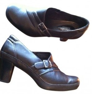 Clarks Buckle Strap Heel Leather Black Boots