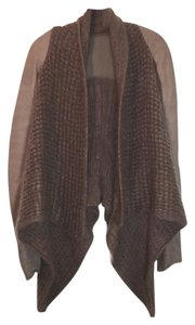 Rick Owens Knit Cardigan Leather Brown Jacket