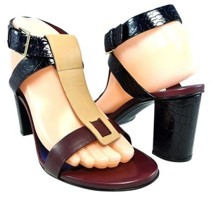 Jil Sander Strappy Ankle Strap Leather Backless Bordeaux Red/Beige/Black Sandals