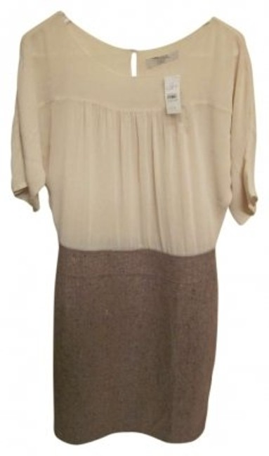 Preload https://img-static.tradesy.com/item/144276/ann-taylor-loft-cream-silk-top-camel-tweed-on-bottom-knee-length-workoffice-dress-size-10-m-0-0-650-650.jpg
