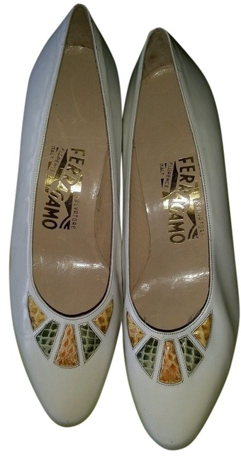 Item - White Leather Classic Snakeskin Women's 1/2 Formal Shoes Size US 7.5 Narrow (Aa, N)