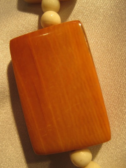 Other Carved Ivory & Wood Tablet Necklace - [ Roxanne Anjou Closet ]