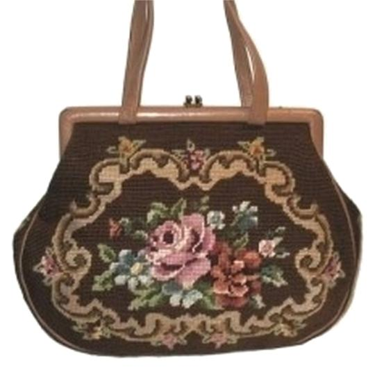 Preload https://item1.tradesy.com/images/floral-needlepoint-tapestry-leather-handbag-brown-cotton-shoulder-bag-144280-0-0.jpg?width=440&height=440
