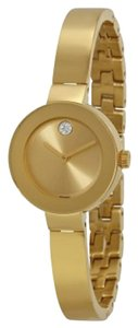 Movado Gold tone Stainless Steel Sunray Dial Crystal Bangle Bracelet Designer Ladies Watch