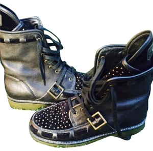 See by Chlo Chloe Combat Black with Gold/Brass Hardware Boots