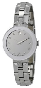 Movado Silver tone Stainless Steel Diamond Set Dial and Bracelet Luxury Designer Dress Watch