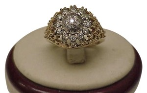 Vintage Art Deco 18kt Multi-tone Gold .75ct Diamond Filigree Ring, 1920s