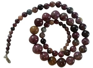 NEW Natural Tourmaline AAAA Graduated Round Beads Necklace