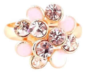 Other New White Gold Tone Flower Adjustable Statement Ring J2371