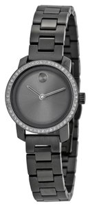 Movado Grey Ion Plated Stainless Steel with 54 Diamonds Designer Ladies Casual Watch