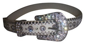 Kippys KIPPYS Size 32 BIG COWBOY Swarovski WHITE LEATHER BELT