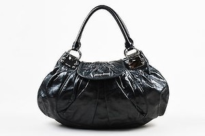 Miu Miu And Silver Tone Vitello Lux Leather Pleated Ruched Flap Hobo Bag
