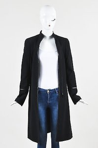 Akris Wool Vegan Leather Trimmed Minimalist Zip Structured Coat