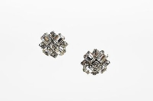 Weiss Furs Vintage Weiss Silver Tone Rhinestone Crystal Geometric Rosette Clip On Earrings
