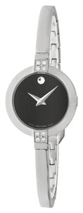 Movado Black Dial Silver Stainless Steel Diamonds Bangle Designer Watch