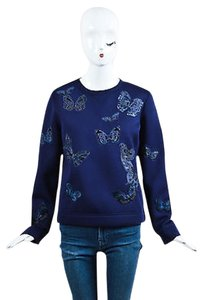 Valentino Navy Scuba Knit Butterfly Embroidered Sweatshirt Sweater