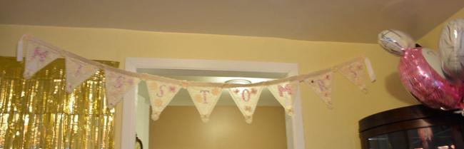"""Item - Ivory Pink Silver Bridal Shower Banner """"Miss To Mrs"""""""