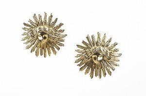 Castlecliff Vintage Castlecliff Gold Tone Metal Sun Face Clip On Statement Earrings