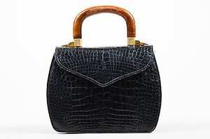 LANA MARKS Alligator Leather Wooden Handle Handbag Satchel in Black