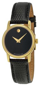 Movado Gold Plated Stainless Steel with Black Leather Strap Classic Designer Ladies Dress Watch