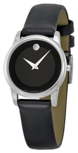 Movado Silver tone Stainless Steel Black Dial Black Leather Strap Designer Dress Watch