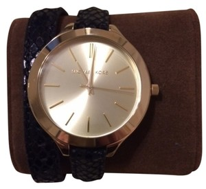 Michael Kors Michael Kors Women's MK2315 Slim Runway Goldtone Black Leather Watch