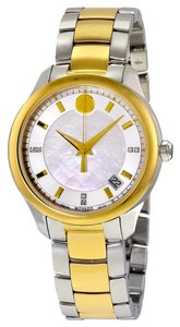 Movado Mother of Pearl Dial Two Tone Silver and Gold Stainless Steel Designer Dress Watch