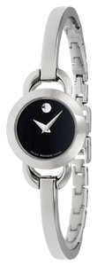 Movado Black Dial Silver tone Stainless Steel Bangle Designer ladies Dress watch