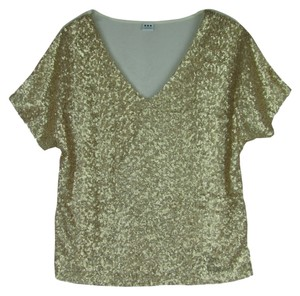 Three Dots Sequins V-neckline Top White/Gold