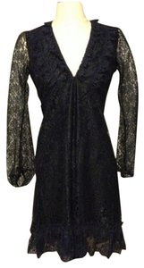 Candela Lace Blouson V-neck Knee Length Ruffle Empire Waist Dress