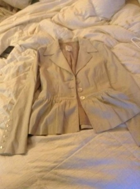 Nanette Lepore Lightweight Blazer Pinstripe Light khaki and cream stripe Jacket