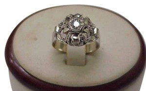 Other Antique European Gothic Victorian 18K White Gold Genuine .20ct Solitaire Diamond Hand Made Ring,1900s