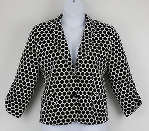 Russell Kemp Black White Circle Print Ruched Sleeve Detail B20 Jacket
