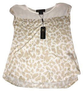 Kardashian Kollection Leopard Print Top Ivory/tan