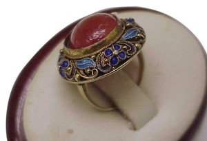 Estate 14k Yellow Gold 925 Silver Blue Brown Enamel Carnelian Ring