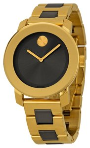 Movado Gold tone and Grey Stainless Steel Designer Dress Watch
