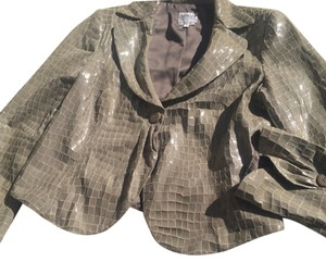 Armani Collezioni Beige hint of soft green Leather Jacket