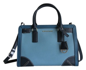 Michael Kors Dillon Frame Out Leather Satchel in Steel Blue / Sky / Navy