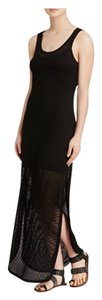 black Maxi Dress by Velvet by Graham & Spencer Mesh Maxi Slit Sleeveless